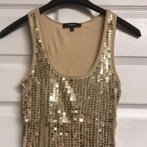 Gold, sequin express tank top - size small